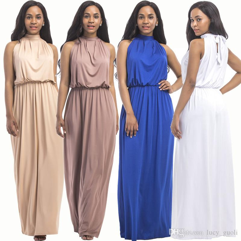 2018 Summer Dress Sleeveless Sexy Dress Robe Longue Femme Long Slim Dresses  Casual Loose Dress Female Women Big Size Casual Evening Dresses Dresses For  ... aa30044eabf7