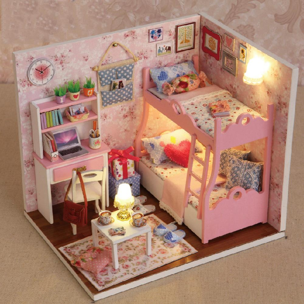 Miniatures Dollhouse Furniture. Simple Miniatures Cute Room Wooden Doll  House Diy Handmade Miniature Dollhouse Furniture