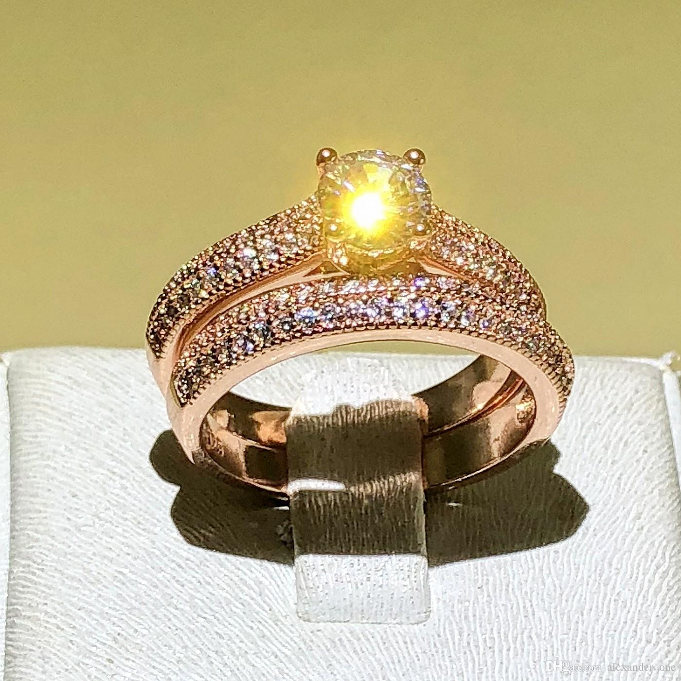 7b77222cdca6b Fine Jewelry Solitaire Wedding Ring for Women Love Forever 925 Silver Rose  Gold Color CZ anillos mujer Stacking Rings Set size 4-12