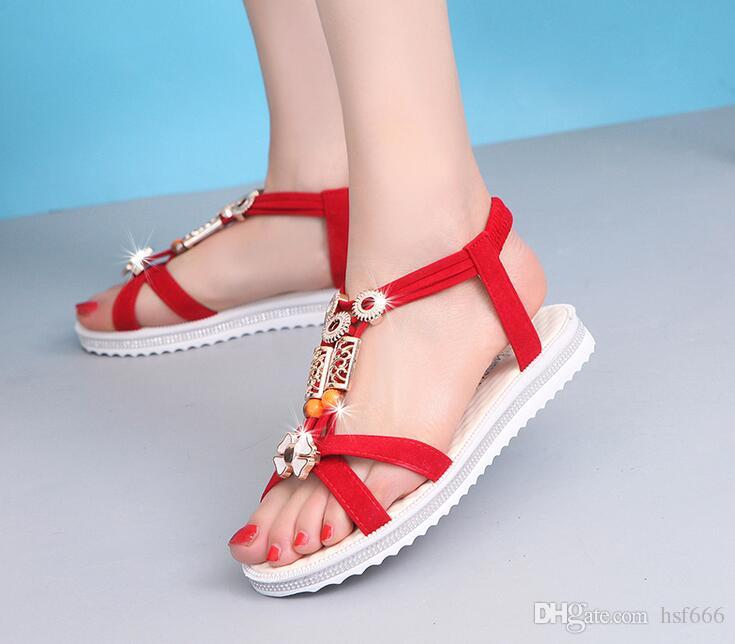 Summer styles women sandals female channel rhinestone comfortable flats flip gladiator sandals party wedding shoes