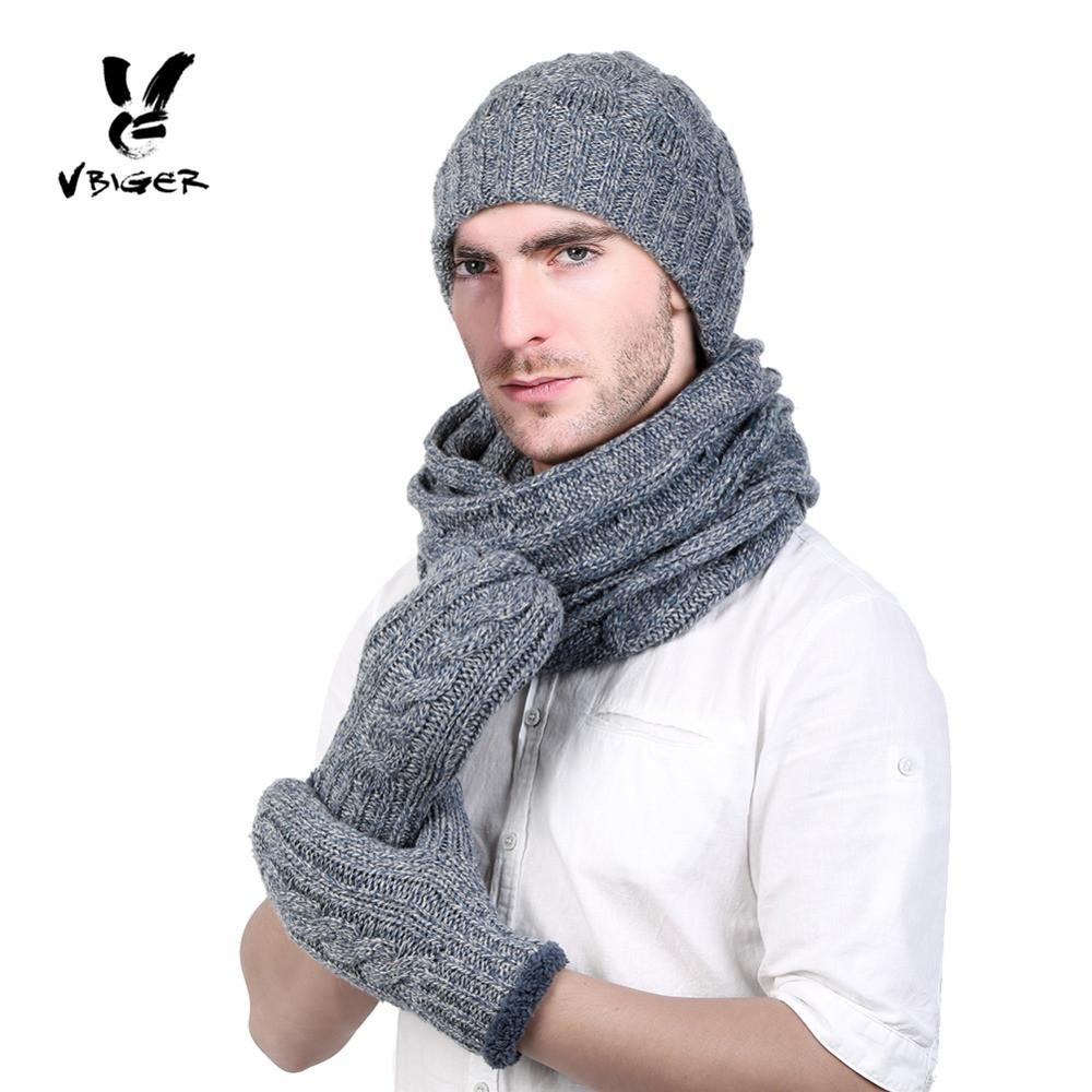 VBIGER Men Winter Skullies Beanies Knitted Stripe Beanie Hat Scarf ... 6bbc1be7d11