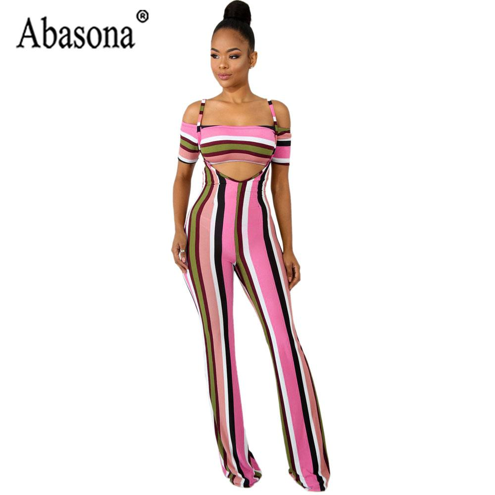 3c39cafb4e9 2019 Abasona Women Long Striped Wide Leg Jumpsuit Sexy Club Hollow Out  Strap Jumpsuit Women Set Outfits Short Sleeve Playsuit From Griseldala