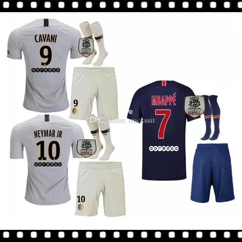 4ef3739773 Compre TOP Best 2018 2019 Camisas De Futebol DI MARIA Home Kits Adultos  VERRATTI Camisas De Futebol MBAPPE CAVANI Camisas De Futebol DANI ALVES  AWAY White ...