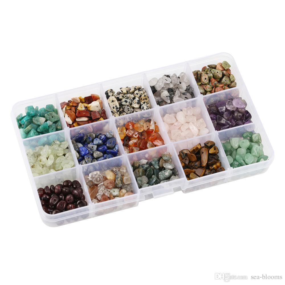 15 Styles Irregular Shaped Loose Beads Chips Gemstone Crystal Pieces For Jewelry Making Box Set For DIY Jewelry Making Christmas Gift D846LR