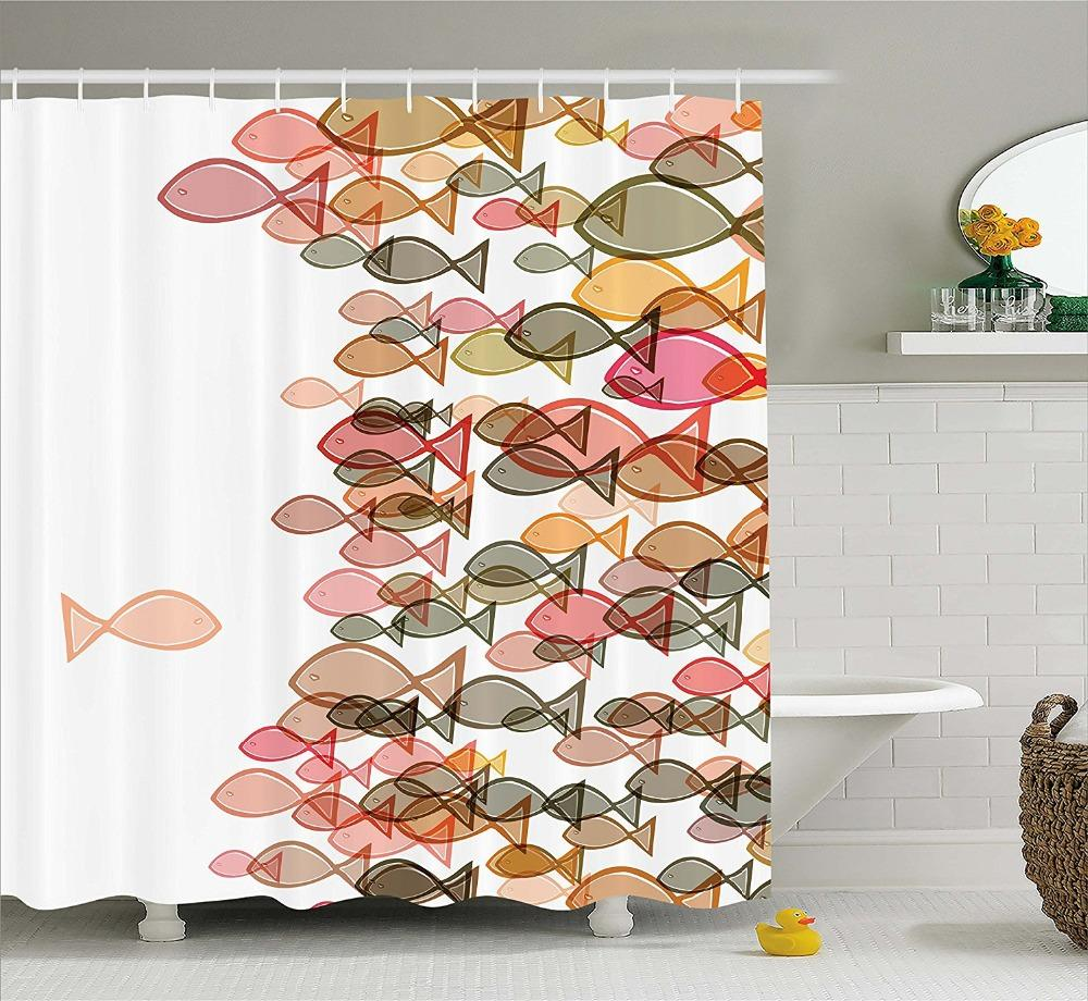 2019 Modern Arts Shower Curtains Colourful Fish Flock Marine Coral Yellow Green Printing Decorative Bathroom From Hariold 3897