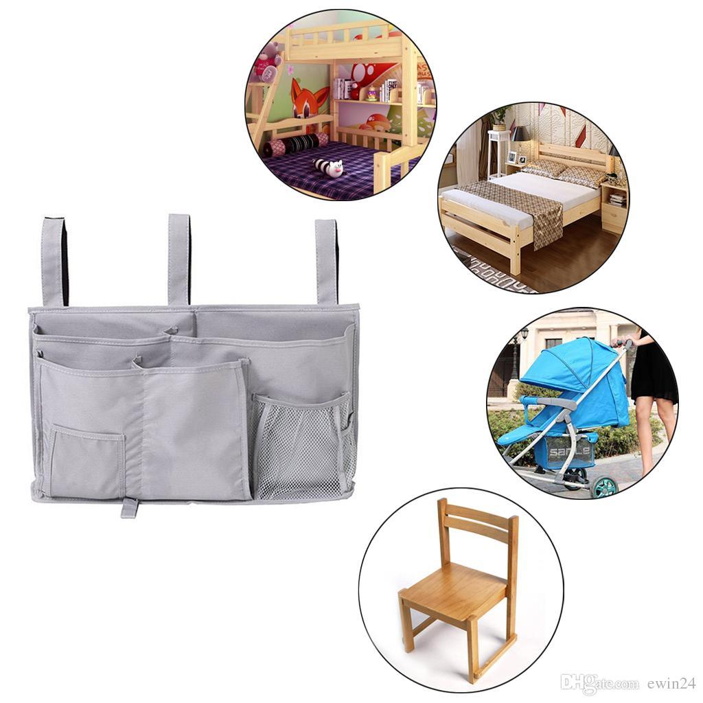 Bedside Storage Organizer Caddy Hanging Storage Bag for Bunk Dorm Rooms Bed Rails Baby Bed Cart Gray