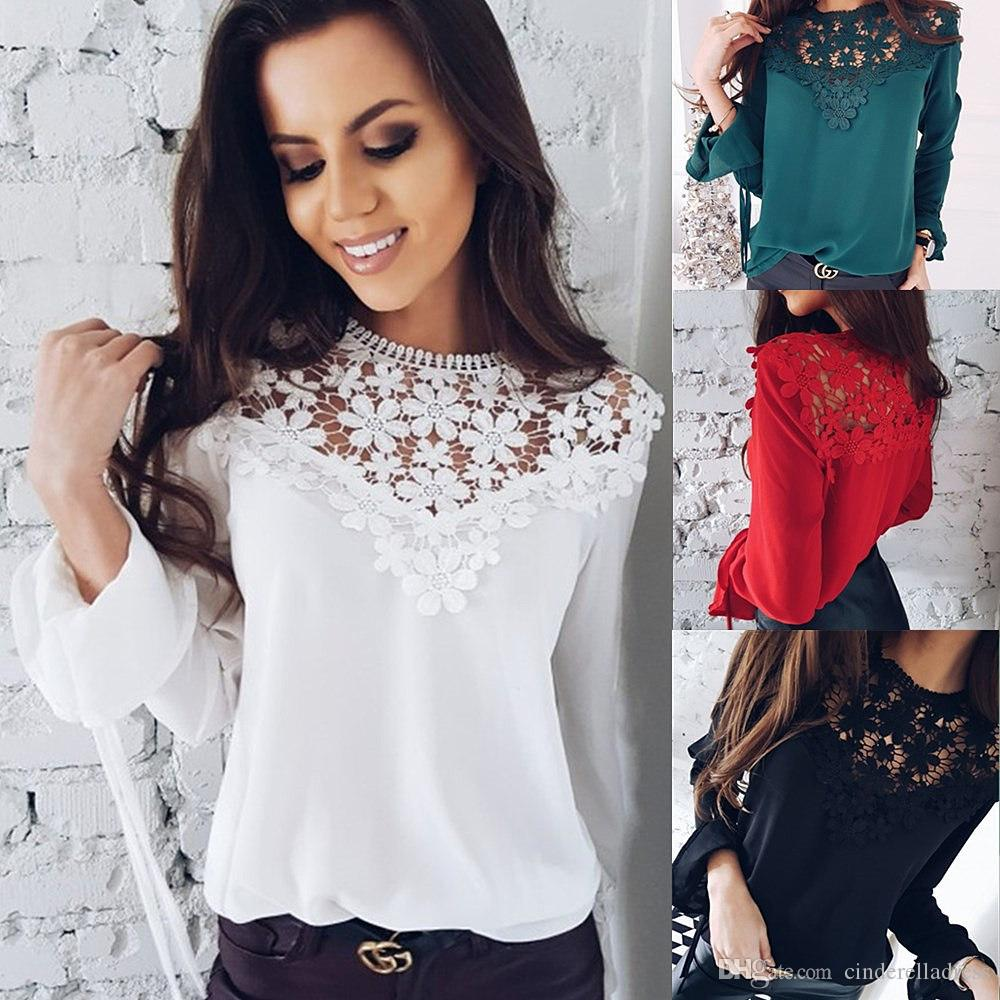0594ccd4fb 2019 Sexy White Chiffon Lace Long Sleeve Blouse Women 2018 Patchwork ...