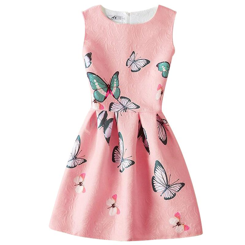 Girl Dress 2017 Summer Dresses For Girls Wear printing A-line Princess Dress Teenagers Girls Birthday party party dress
