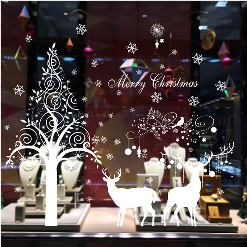 WHISM DIY New Year Wall Sticker Shop Window Wallpaper Christmas Tree Wall Decal Removable Xmas Glass Mural Arts Poster
