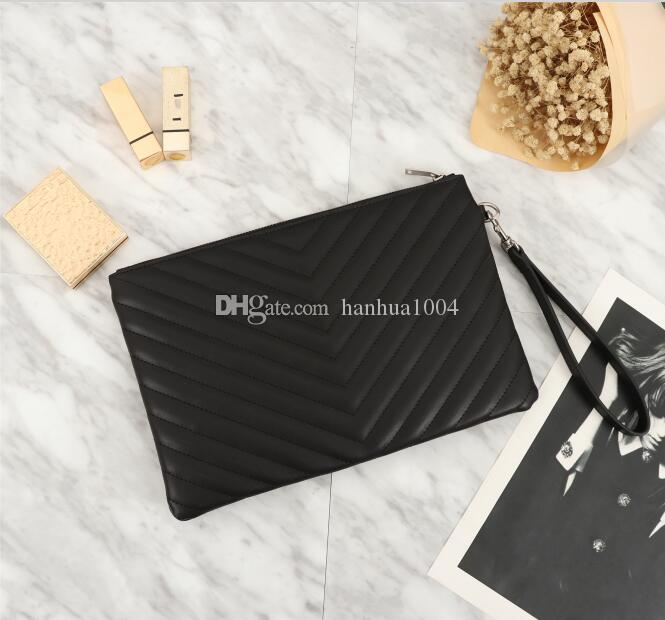 2018 wholesale price sell top quality brand name fashion women Genuine leather Wristlet Bag Clutch Chevron Matelasse leather pouch