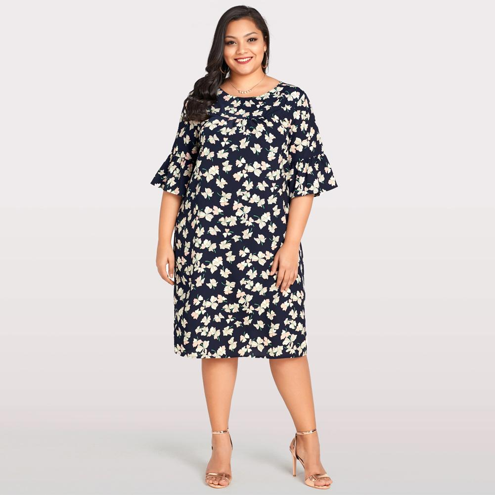 Elegant Flare Sleeve Dress Women Plus Size Summer Beach Dress Floral Print  Casual Loose Large Size Bohemian Dress 2018 Dark Blue