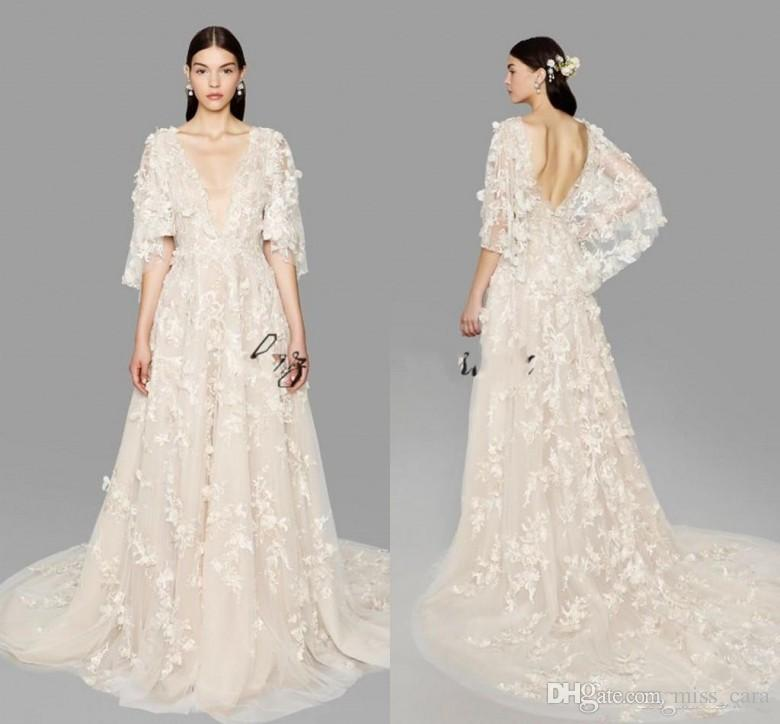 bc508b11f828 Discount 2018 Custom Marchesa Butterfly Sleeve A Line Wedding Dresses Plus  Size Dubai Arabic Depp V Neck Princess Bridal Gowns With Flowers Wedding  Dresses ...