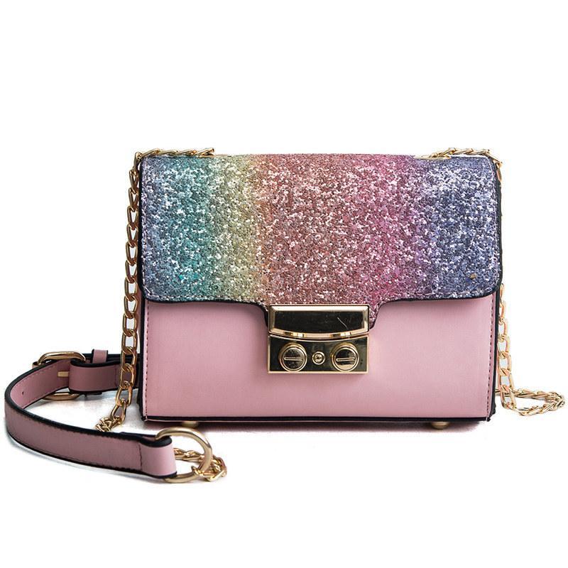 a717e48be42d Gradient Rainbow Shiny Women Handbag Paillette Bling Bling Female Glitter  Sequined Messenger Bag Popular Party Lady Leather Flap Designer Purses  Satchel ...
