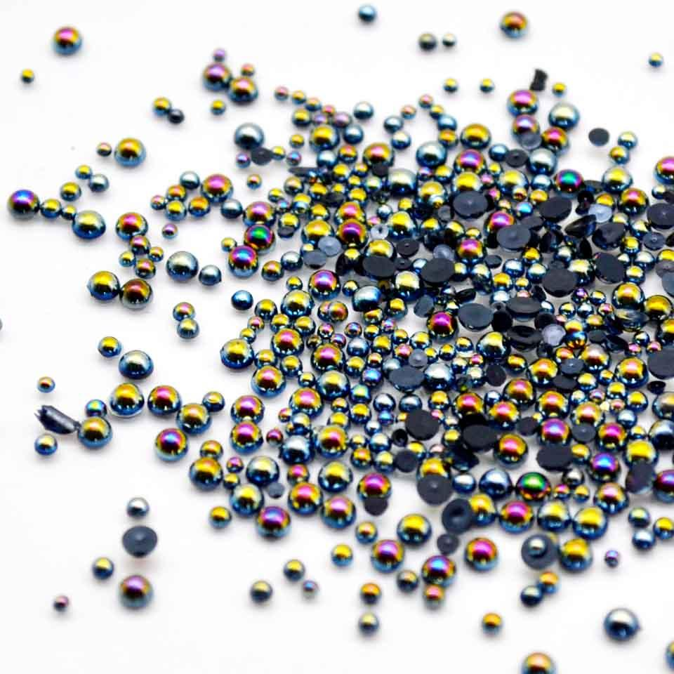 Black Ab 3d Nail Jewelry Mix Pearls For Nails Stones Nail Art