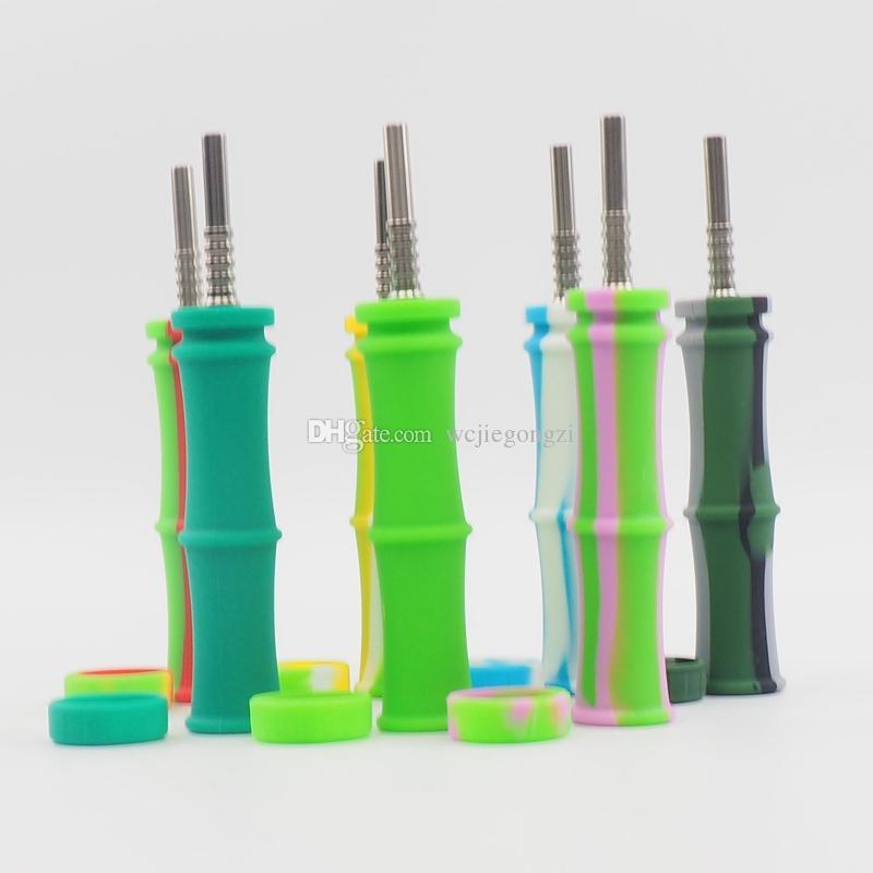 Kit de colector de néctar de silicona al por mayor forma de calabaza y bambú Kit Bong de tubería de agua con punta de titanio de 14 mm de silicona Portable Dab Oil Rig Smoking