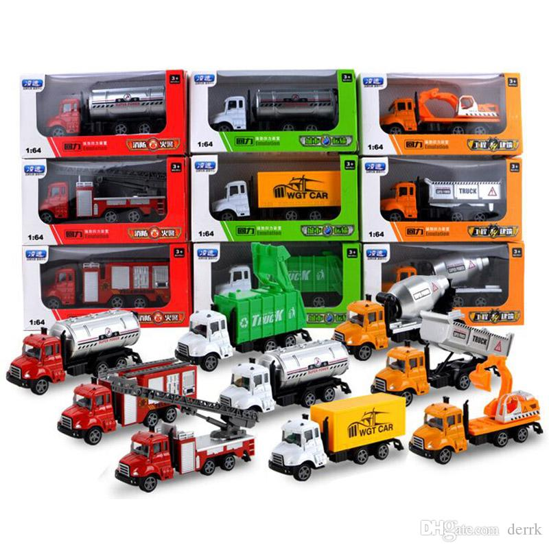 Pull Back car trucks mini alloy construction vehicle kids toys simulation  metal car fire fighting engineering cars sanitation model toys