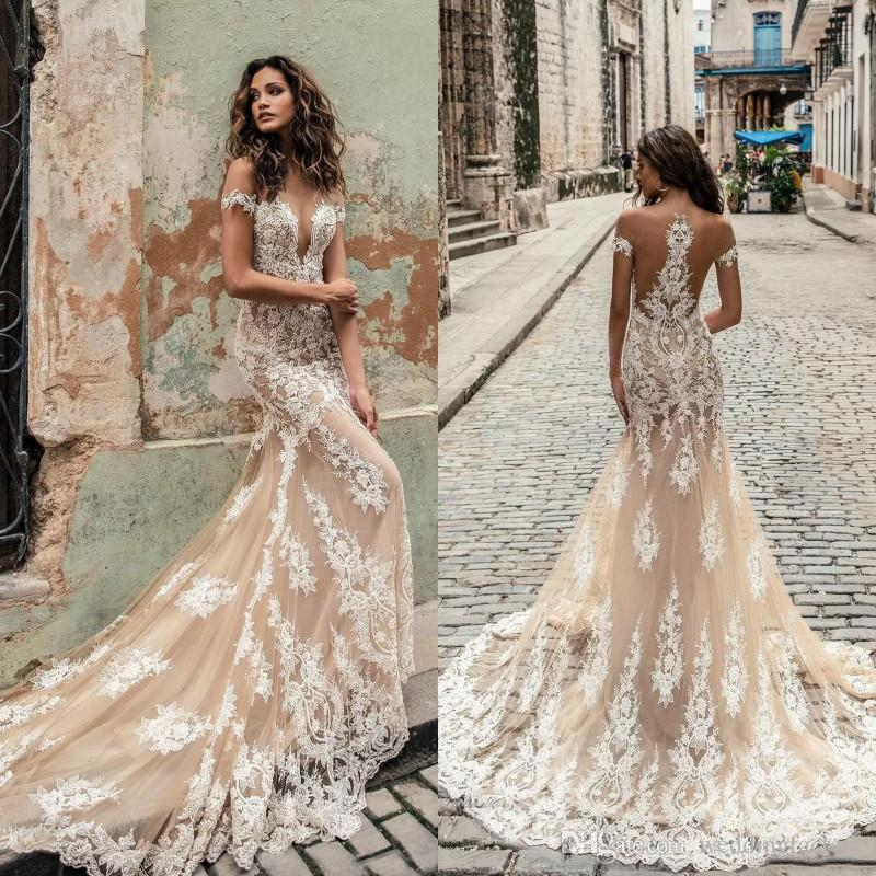 Champagne Julie Vino Style Wedding Dresses 2019 Deep Plunging Sheer Neckline Bridal Gowns Sweep Train Lace Mermaid Wedding Dress Custom Made