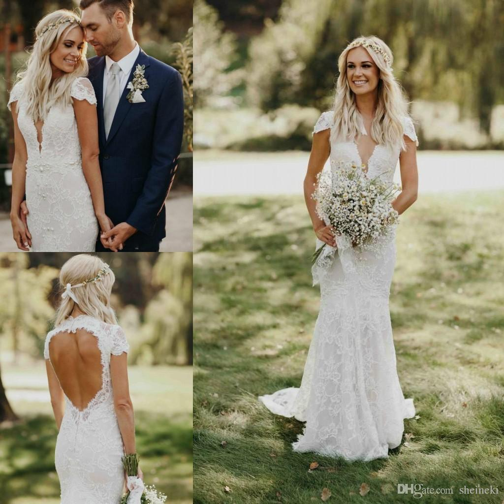 e1bcd6d2ed 2018 Summer Sexy Deep V Neck Lace Appliques Mermaid Wedding Dress Cap  Sleeves Backless Country Garden Bridal Wedding Gowns Custom Made Beaded  Mermaid ...