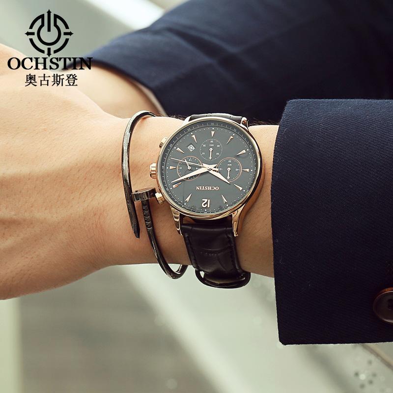 4206d885d7061 Acheter Gros Luxe Marque OCHSTIN Montres Hommes De Mode Casual Hommes De  Cuir Étanche Quartz Montre Mâle Montre Bracelet Relogio Masculino Relojes  De ...