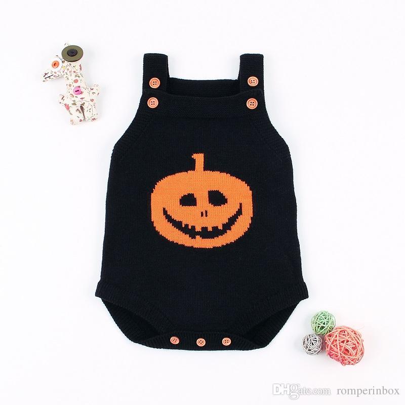 461d53dcd Newborn Baby Girls Boys Halloween Pumpkin Knitted Romper Infant ...