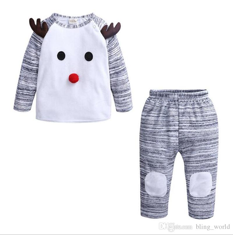 0f03c06d5 2019 Baby Christmas Set Baby Boys Patchwork Tops Pants Outfits ...