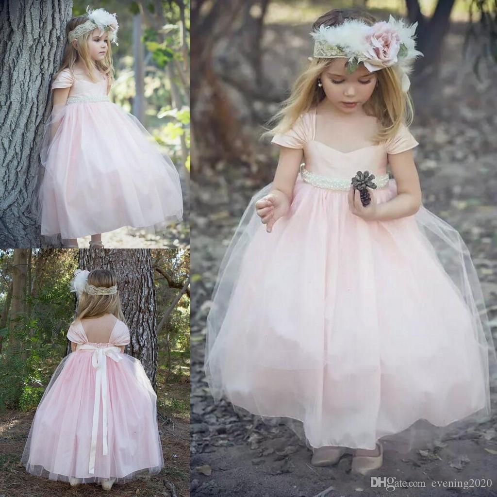2435e3fd1 ... inexpensive 2018 blush pink ball gown flower girl dresses short sleeve  portrait neckline beaded ribbon backless