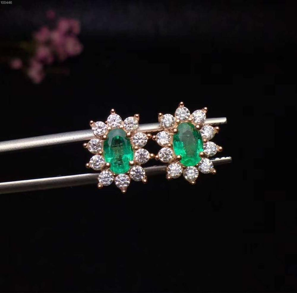 6699ddd7e 2019 18K Gold Plated 925 Sterling Silver Colombia Emerald Stud Earrings For  Women Natural Gemstone 4 X 6 Mm From Fengzh, $210.4 | DHgate.Com
