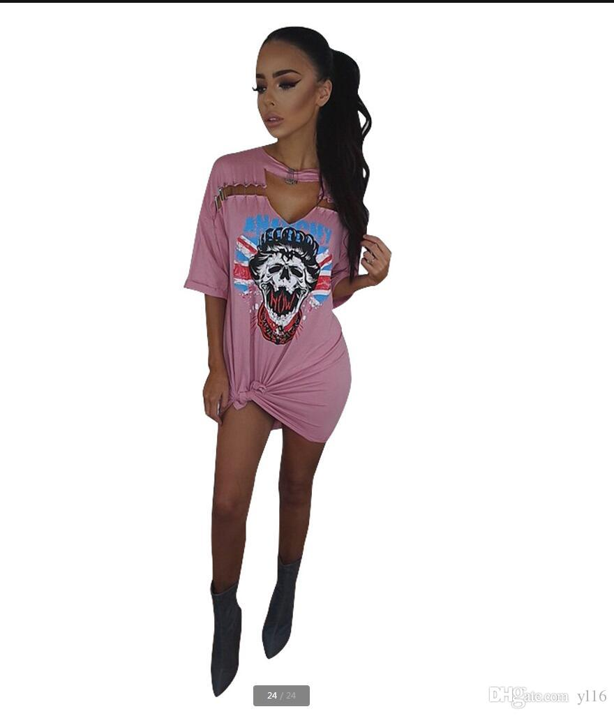 2017 pink Women Clothes Fashion High-quality Dresses Offset print skulls head pin street style cotton dress noah shark skirt