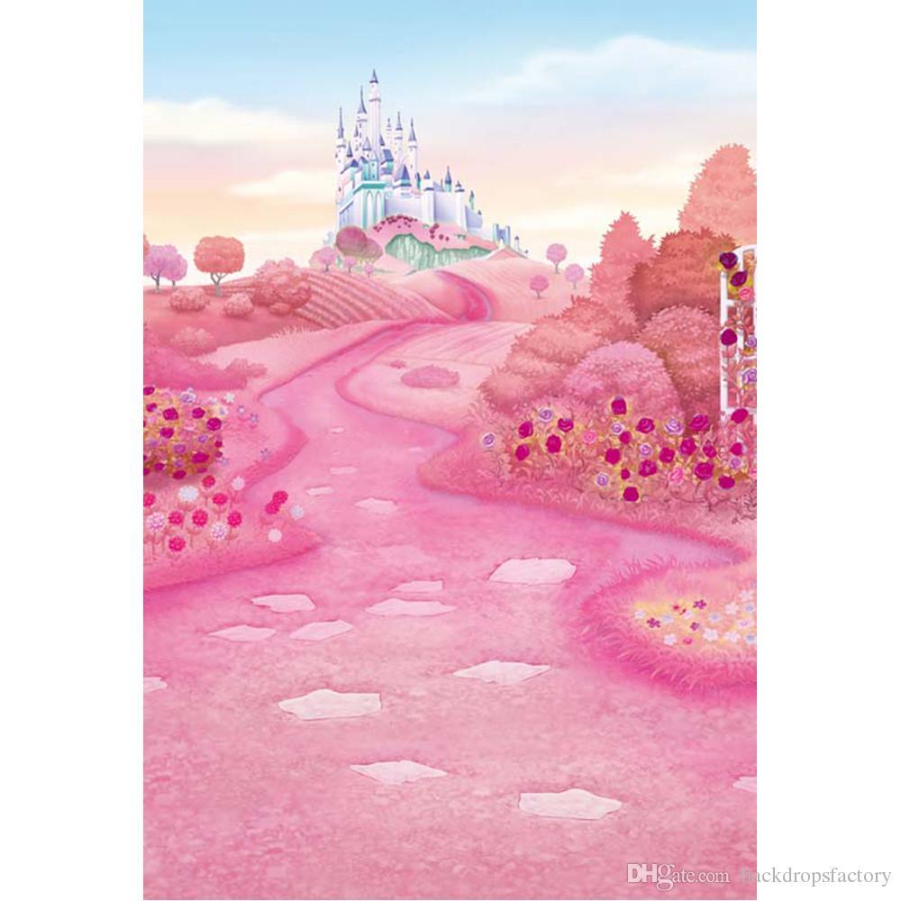 grosshandel rosa marchen marchenland prinzessin girl castle fotografie kulissen gedruckt blumen baume baby kinder geburtstag party hintergrund von
