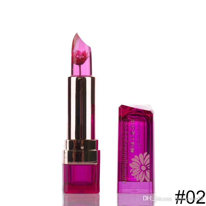 2018 Brand HengFang Makeup Flower Lipstick Color Change on Temperature Food Grade Lipstick Blackish Chrysanthemum Moisturizing