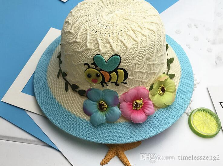 nice breathable children straw hats with cartoon bee garland creative baby hats girls bucket hat kids beach hat caps free ship