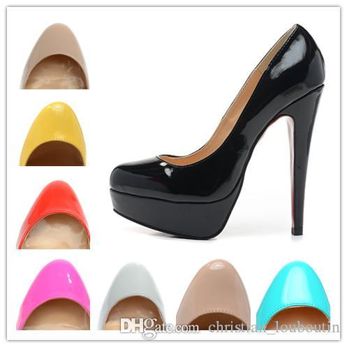 f9a6185f2099 Women 14cm High Heels Black Patent Leather Round Toe Red Bottom Pumps