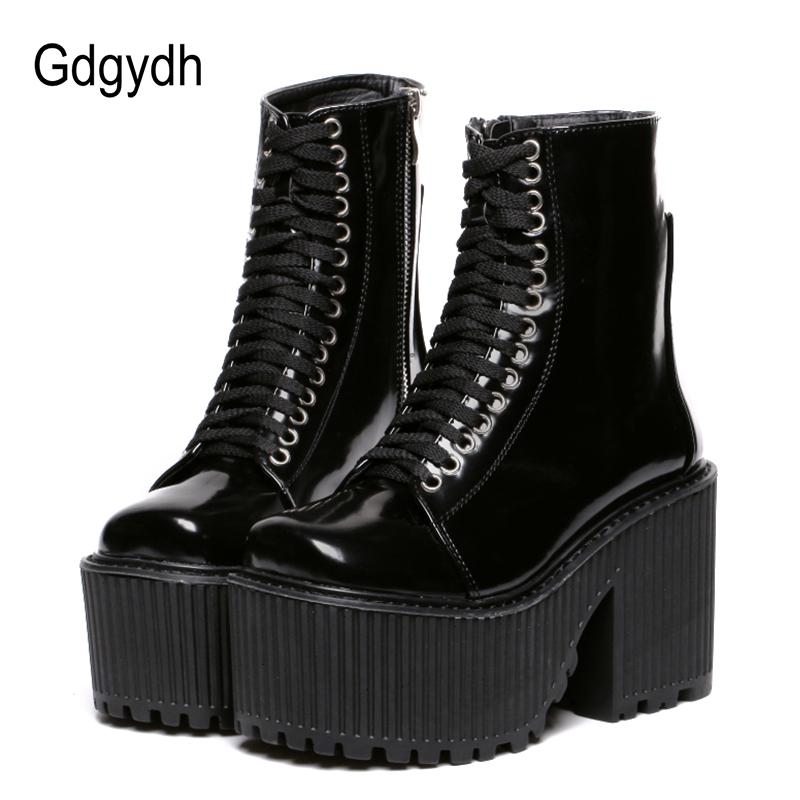 85d061a4066 Gdgydh Fashion Ankle Boots For Women Platform Shoes Punk Gothic Style  Rubber Sole Lace Up Black Spring Autumn Chunky Boots Woman