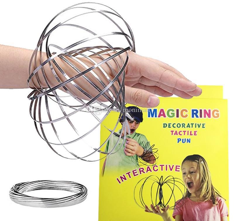 Toroflux Anillos de flujo 5 PULGADAS Cinética de acero inoxidable Spring Metal SUS 304 Toroflux Magic Flow Ring 3D Sculpture Ring Juguetes interactivos DHL