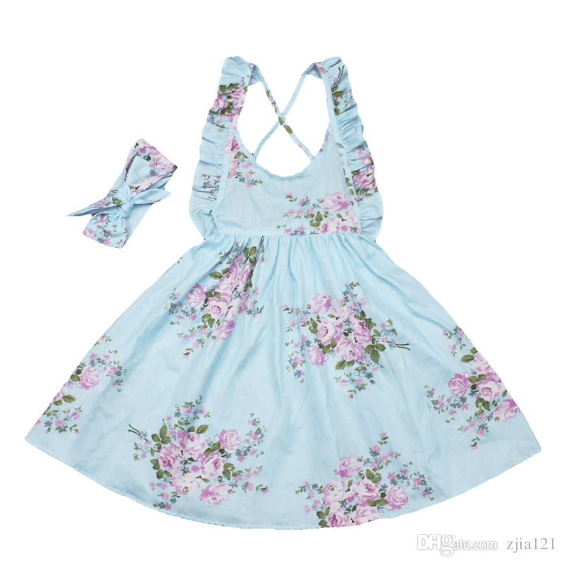 8c142daefbc5 Baby Girls Dress Brand Summer Beach Style Floral Print Party ...