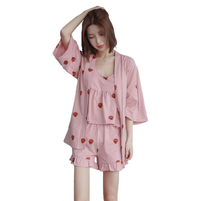 a28c9d9f09 New Style Sleepwear Summer Ladies Pajamas Pijamas Set Cotton Nightwear  Print Cami Shorts Robe Home Wear Sexy Lingerie UK 2019 From Doost