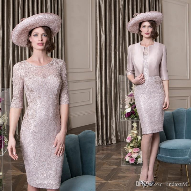 f413d68b40b 2019 Latest Lace Mother Of The Bride Dresses With Jacket Half Long Sleeves  Jewel Neck Evening Gowns Sheath Elegant Wedding Guest Dress Mothers Of The  Bride ...