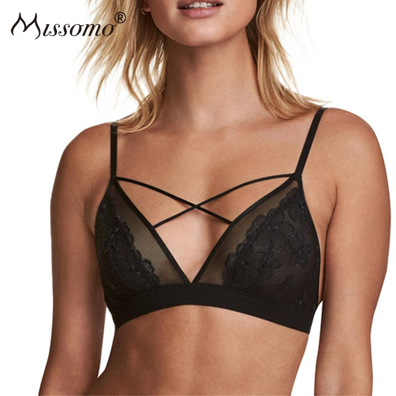 faa8e7be519 2019 Wholesale Women Floral Patchwork Bra Semi Sheer Lace Push Up Wire Free Female  Underwear Bralettes Bandage Cross Back Lingerie From Clothesg202