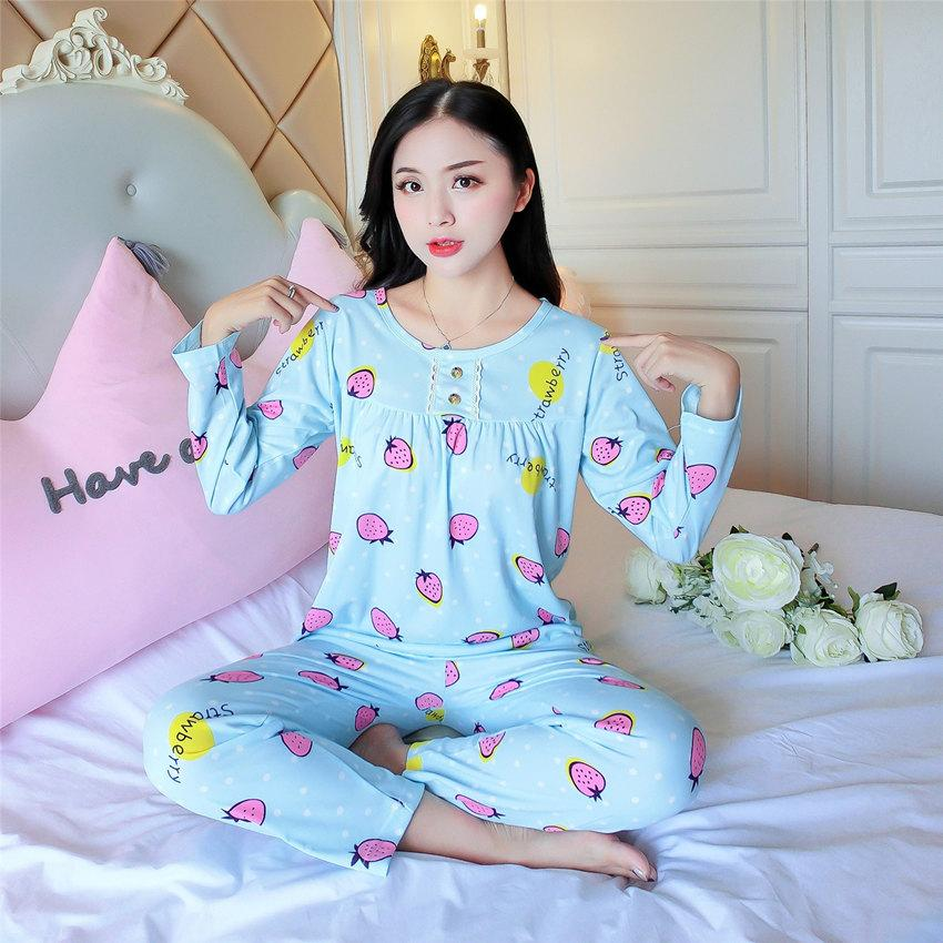 4cbb4dfea 2019 Woven Cotton Print Top And Pants Pajama Set Multicolor O Neck Women  Suits New Spring Long Sleeve Casual Pajama Set From Yujinnice