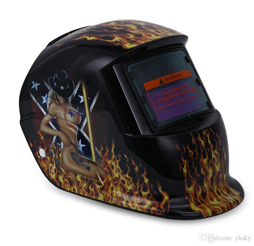 2018 New Pro Solar Welder Mask Auto-darkening Welding Helmet Pattern Fire Skull 100% Original Back To Search Resultshome