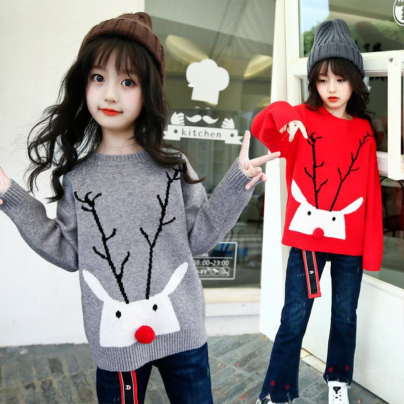 weixu child girl christmas sweater with deers autumn winter kid cartoon knitted sweater 3 14 years old toddler girls top clothes boys pullover knitting
