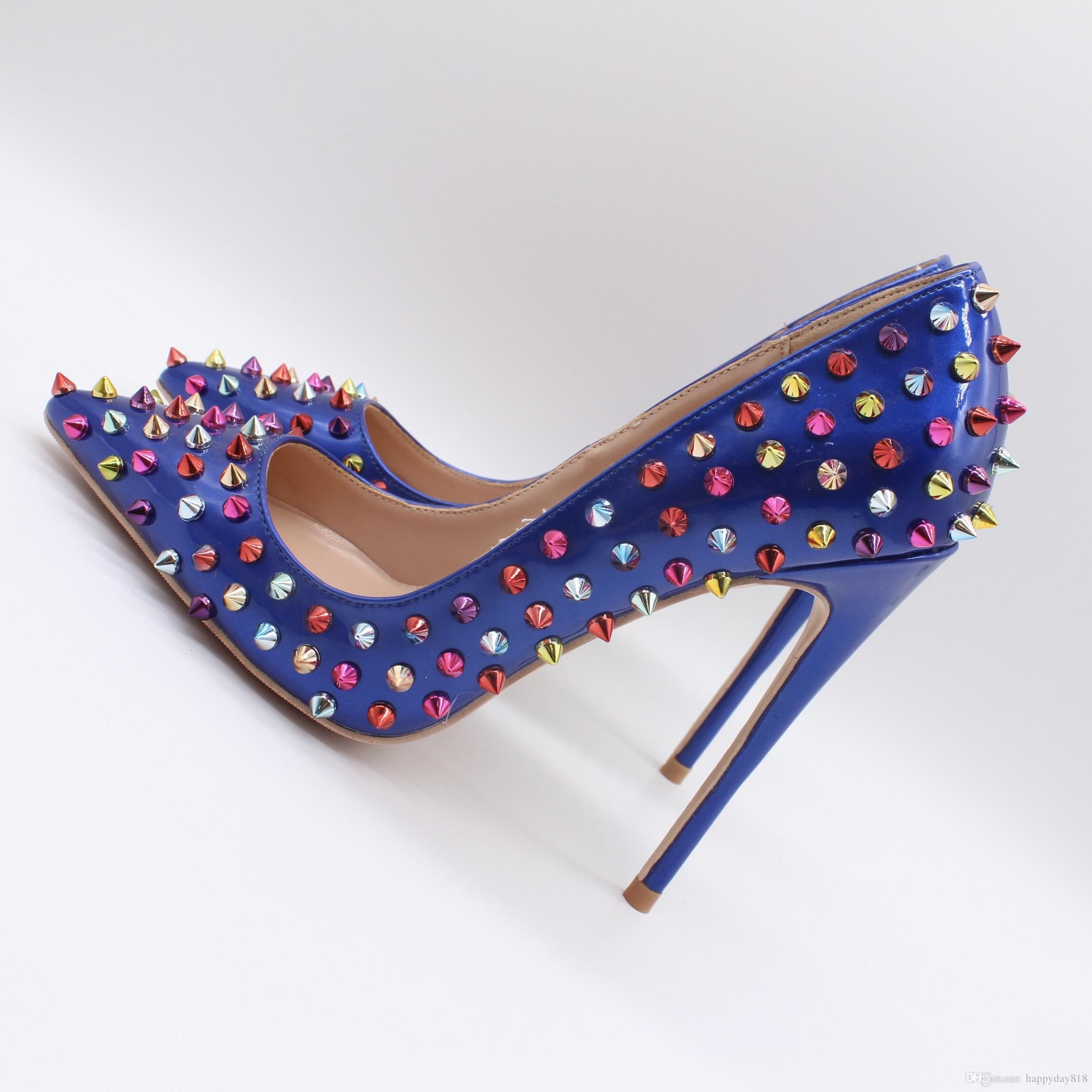 Compre Foto Real Mujeres De Moda Azul Real Charol Tachuelas Remaches Punto  Dedo Del Pie Sexy Tacones Altos Zapatos Bombas 10 Cm Stilettos A  70.36 Del  ... c078000774bb