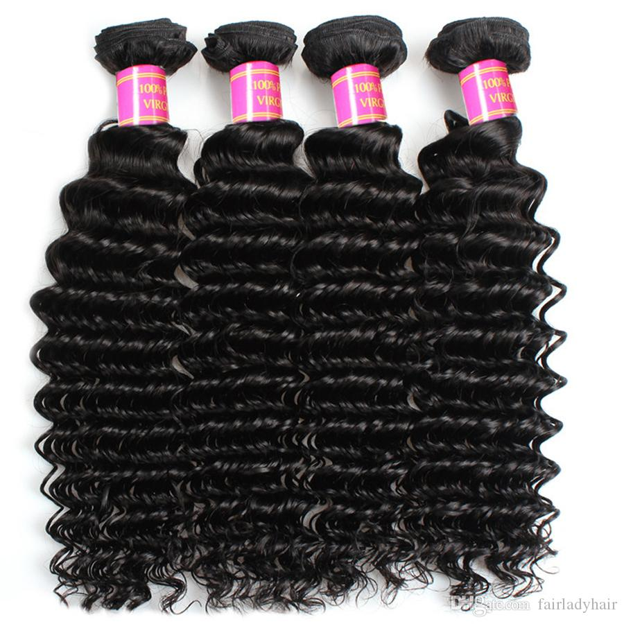 Brazilian Virgin Hair Deep Wave Frontal with Bundles 7A Grade Human Hair Bundles with 13x4 Lace Frontal Deep Wave Hair Products Wholesale
