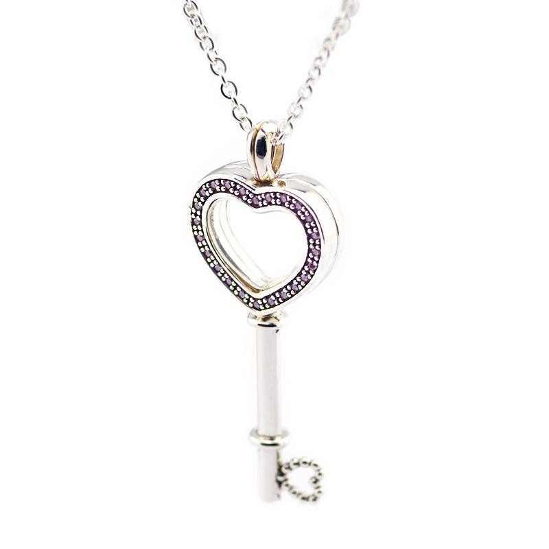 6aa607f39 2019 100% 925 Sterling Silver Jewelry Floating Locket Heart Key Necklace  With Pink CZ From Caley, $42.29 | DHgate.Com