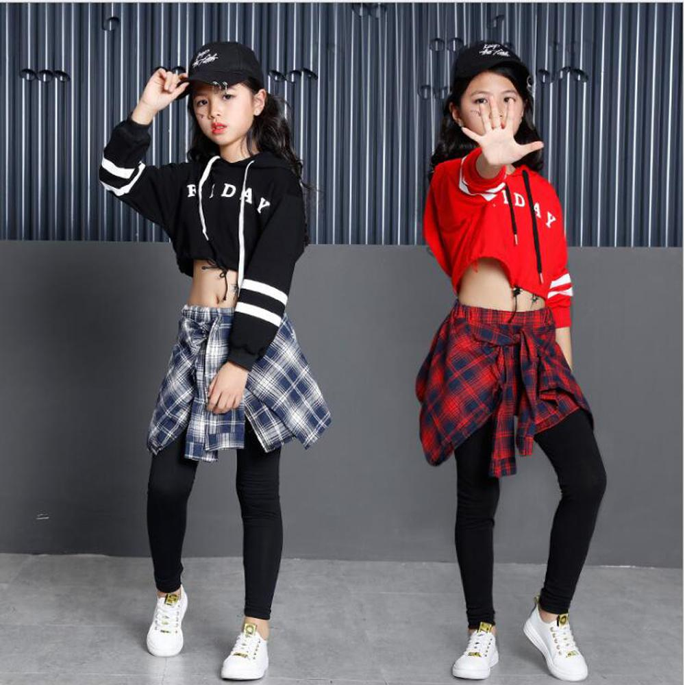 edd0c8222 Girls Child Modern Dance costumes Barllroom dancing clothing Tops+Pants Kids  Jazz Hip Hop stagewear Party dancewear Outfits
