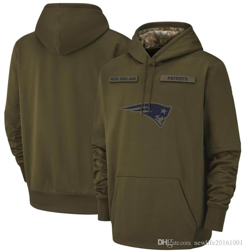 pretty nice d9f4d c2602 New England Hoodie Patriots Sweatshirt 2018 Men s Olive Salute to Service  Sideline Therma Performance Pullover Hoodies