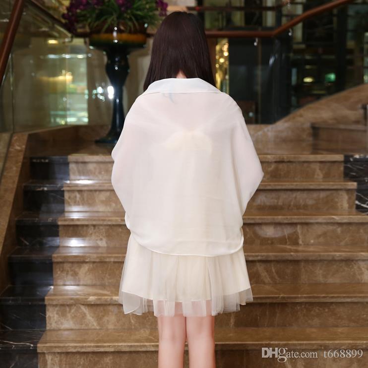2018 chiffon xale vestidos de dama de honra cor joker cinza xale vermelho pasta de feijão roxo champanhe rosa lenço à venda