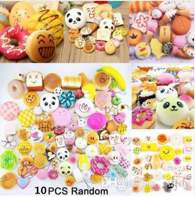 Reasonable 10pcs Random Squishy Panda Bread Ice Cream Slow Rising Cute Phone Straps Cake Buns Pendant Toy Kid Squeeze Scented Charms Gags & Practical Jokes