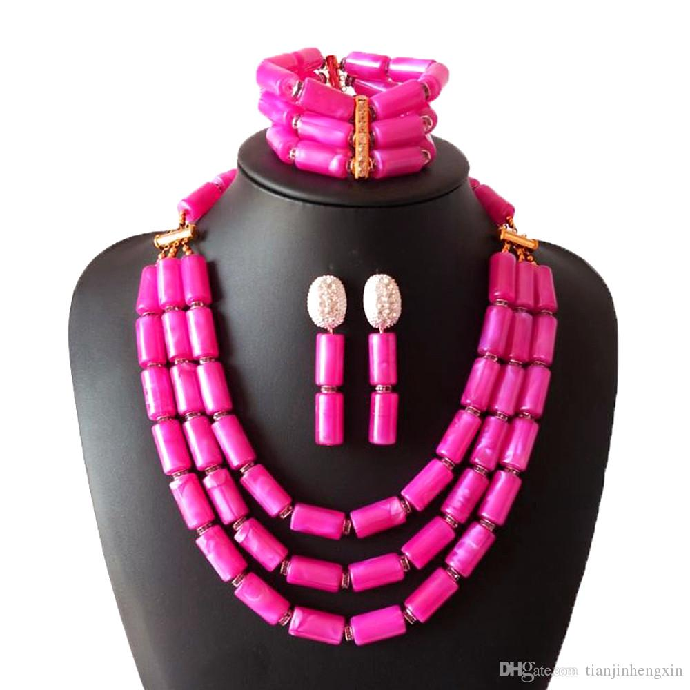 3 Rows Pink Imitation Coral Nigerian Wedding Beads Jewelry Set Bridal Jewelry African Costume Jewelry Set for Women ASJH-2