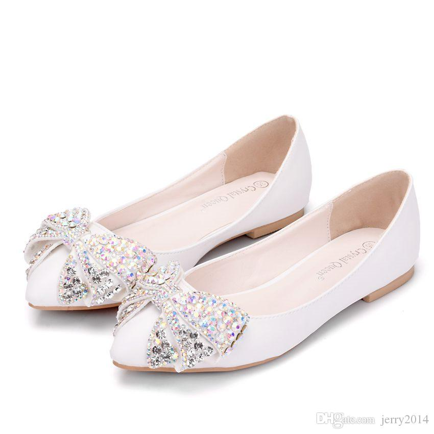 New Fashion Women Flats White Color Multi Crystal Bowtie Pointed Toe Flat Pink wedding shoes Plus Size